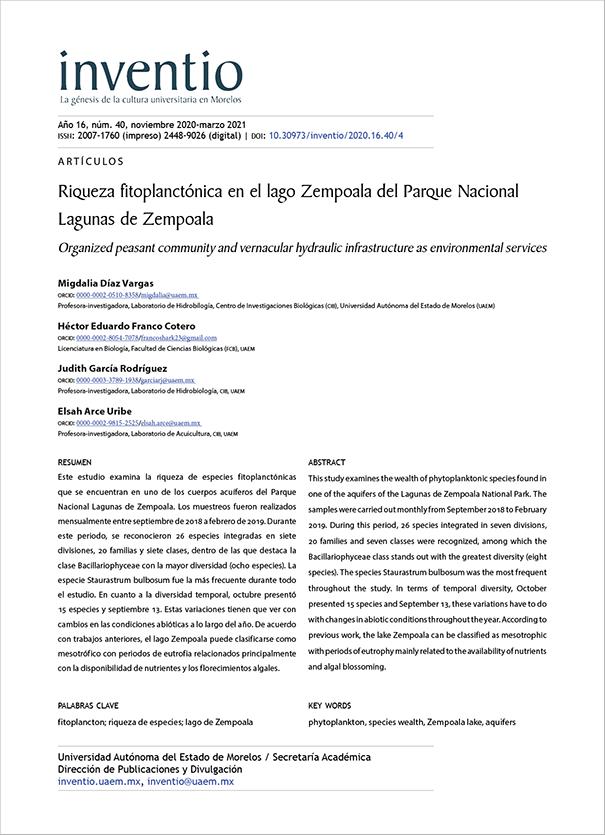 Riqueza fitoplanctónica en el lago Zempoala del Parque Nacional Lagunas de Zempoala