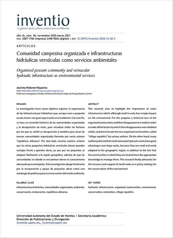 Comunidad campesina organizada e infraestructuras hidráulicas vernáculas como servicios ambientales